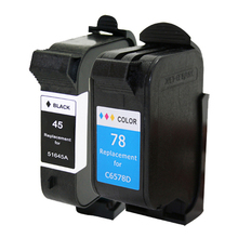 2pcs Replacement  45 78 Ink Cartridge For HP 180 280 1220c 3810 3816 3820 3822 6122 6127 920c 930c 932c 940c printer