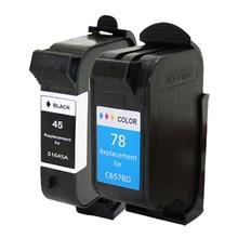 2pcs For HP 45 78 Ink Cartridge For HP 180 280 1220c 3810 3816 3820 3822 6122 6127 920c 930c 932c 940c 950c printer fit dh 950c