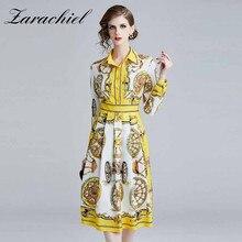 Vestido de diseñador de moda de la camisa de la pista 2019 vestido de las mujeres del verano de la primavera Vestido de manga larga de la rueda de impresión delgada elegante vestidos de fiesta