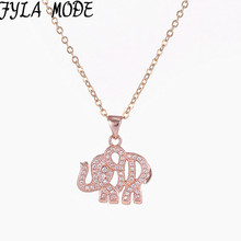 Fyla Mode Micro Pave Zircon Elephant Pendant Necklace Silver/Gold Color Trendy Necklaces & Pendants Men Women Fashion Jewelry