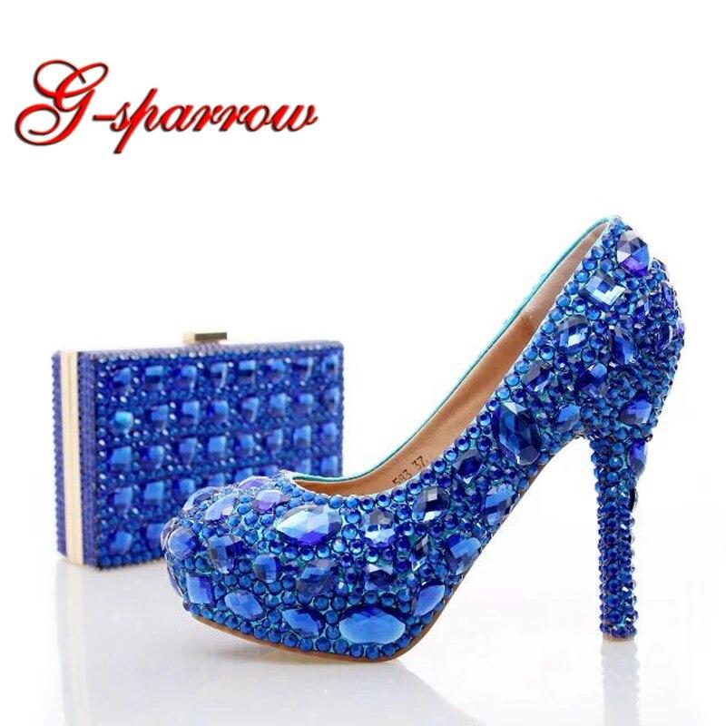 Blue Rhinestone Wedding Heels With Fashion Crystal