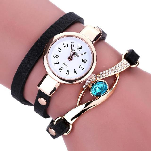 Brand Fashion Vintage Cow Leather Bracelet Watches Women Dress Wristwatch Quartz