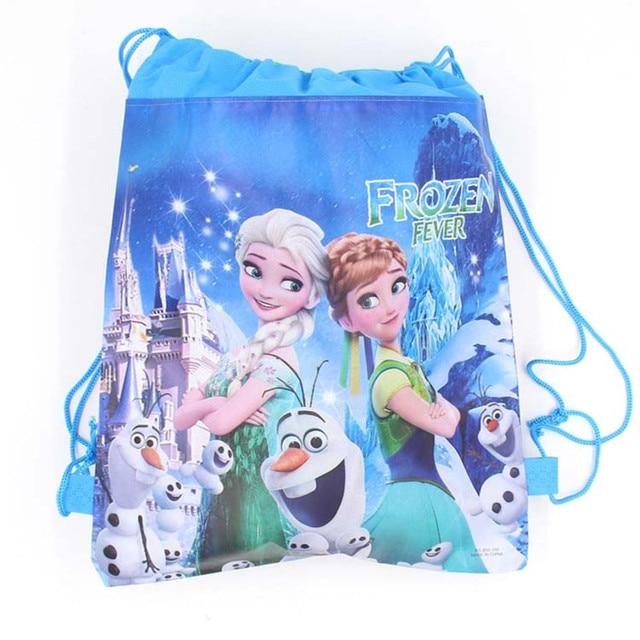 6pcs Frozen Theme Freezing Anna Elsa Snow Queen Movie Non-woven Fabrics Drawstring Backpack Schoolbag Shopping Bag