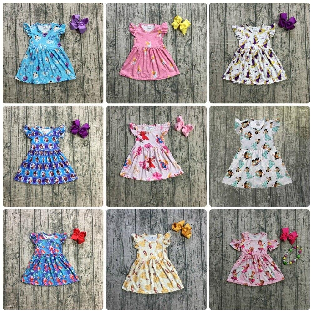 Neuheiten sommer baby mädchen kinder kleidung kurzarm kenn länge kleid milch seide prinzessin spiel zubehör kinder boutique