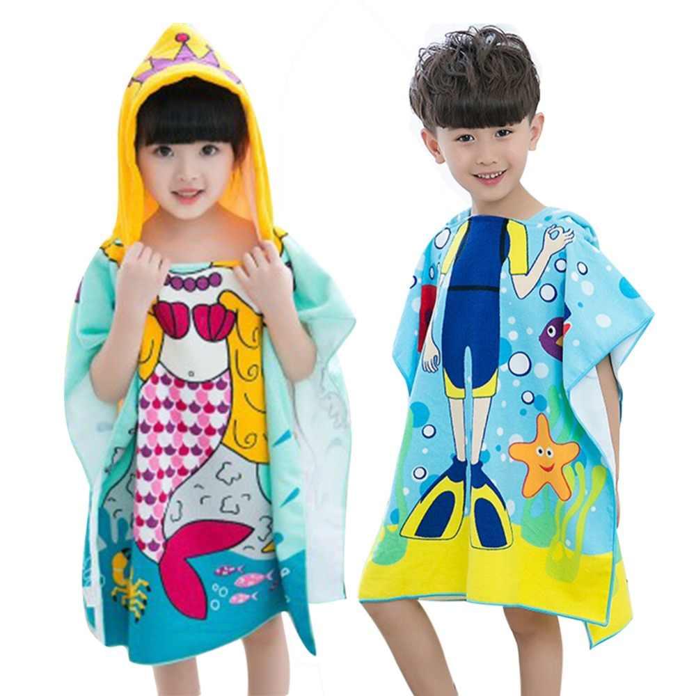 Dzieci poliester ręcznik plażowy płaszcz dzieci syrenka wzór rekin Cartoon ręcznik kąpielowy z kapturem dla chłopców dziewcząt