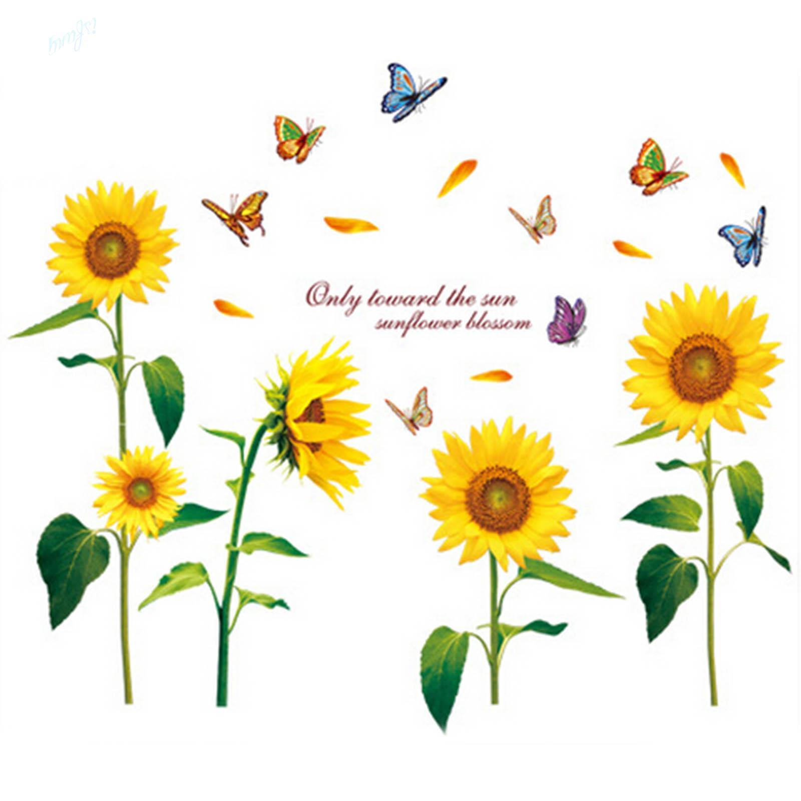 1X Beautiful Sunflower Butterfly Flying wall sticker Home Decor DIY ...