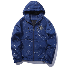 Black Blue Skateboard Fashion Design Bomber Jacket For Men Parka Hommes Zipper Hooded Windbreaker Jacket Male US Size