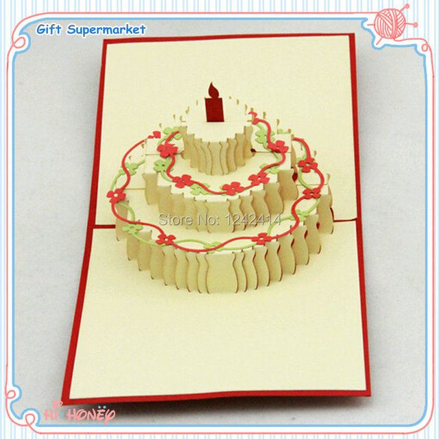 150150mm Happy Birthday Cake Flower Greeting Cards Envelope PP Bag 3D