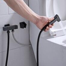 Квадратный Твердый латунный угловой клапан для воды, смесители для биде, черный настенный распылитель для биде, ручной душ, 2 функции