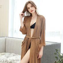 Albornoz fino para mujer, Kimono de tela, bata de baño, bata de talla grande XXXL hasta la rodilla, 2019 KG, otoño 100