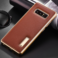 Original IMatch Case For Samsung Galaxy Note 8 Luxury Genuine Leather Case Aluminum Metal Bumper Back