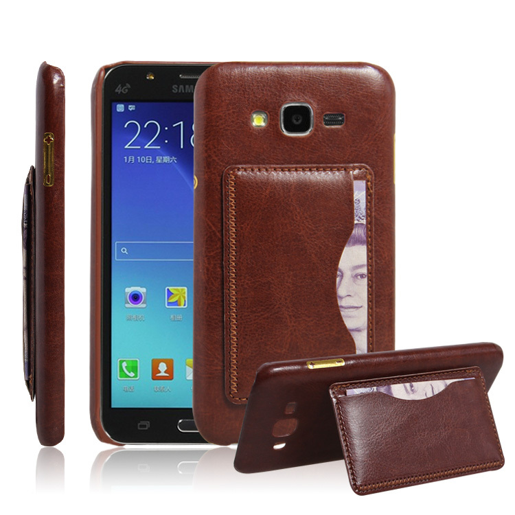 pretty nice 590b0 0ae54 US $4.98  1PCS New Vintage PU Leather Case For Samsung Galaxy J7 Original  Mobile Phone Bag Stand With Card Holder Retro Cover Black Brown on ...