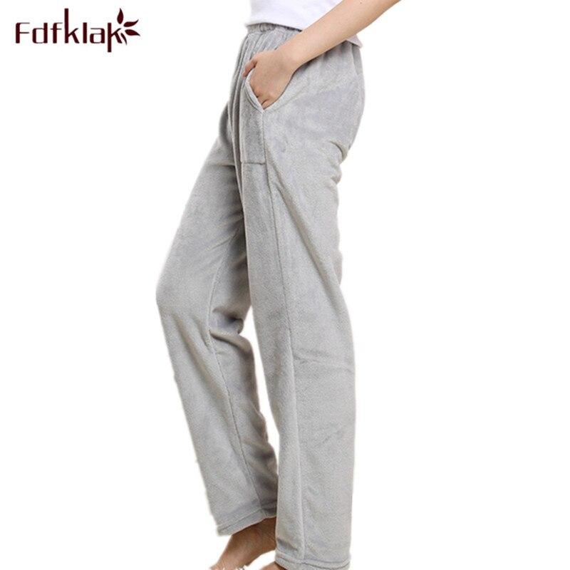 Fdfklak XL XXL 3XL Plus Size Winter Flannel Women's Trousers Pajama Pants Thicker Warm Womens Pajama Bottoms Lounge Pants Q545