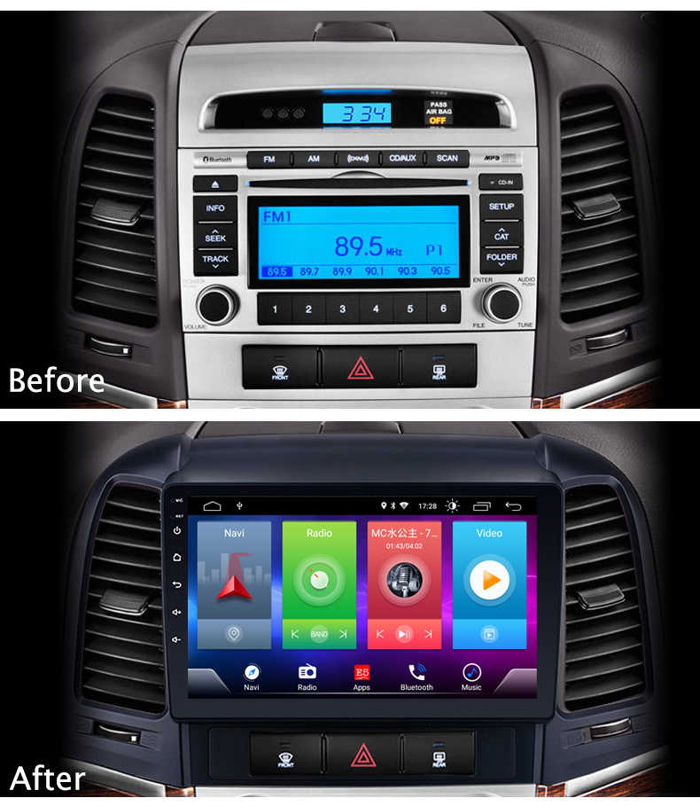 Full Touch Auto Android 8.1 Radio Speler Voor HYUNDAI Santa Fe 2005-12 Voertuig GPS Navigatie Video Multimedia Gebouwd in Bluetooth