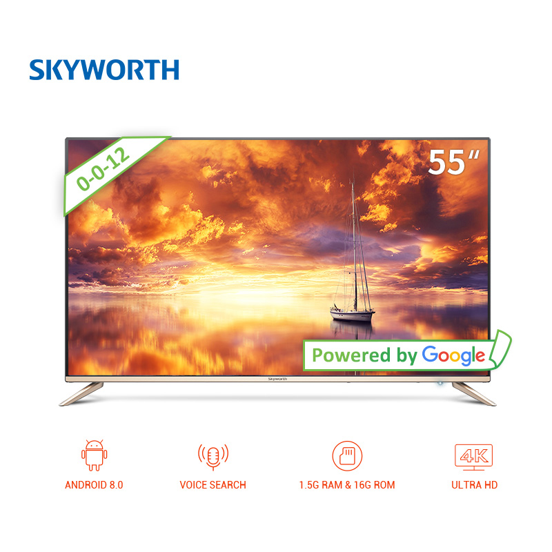 TV sets 55 Skyworth 55G2A android led clear smart tv 4k UHD DOLBY ANDROID 8.0 television 5055InchTv r box plus android 5 1 1 rk3229 2g 16g 4k tv box