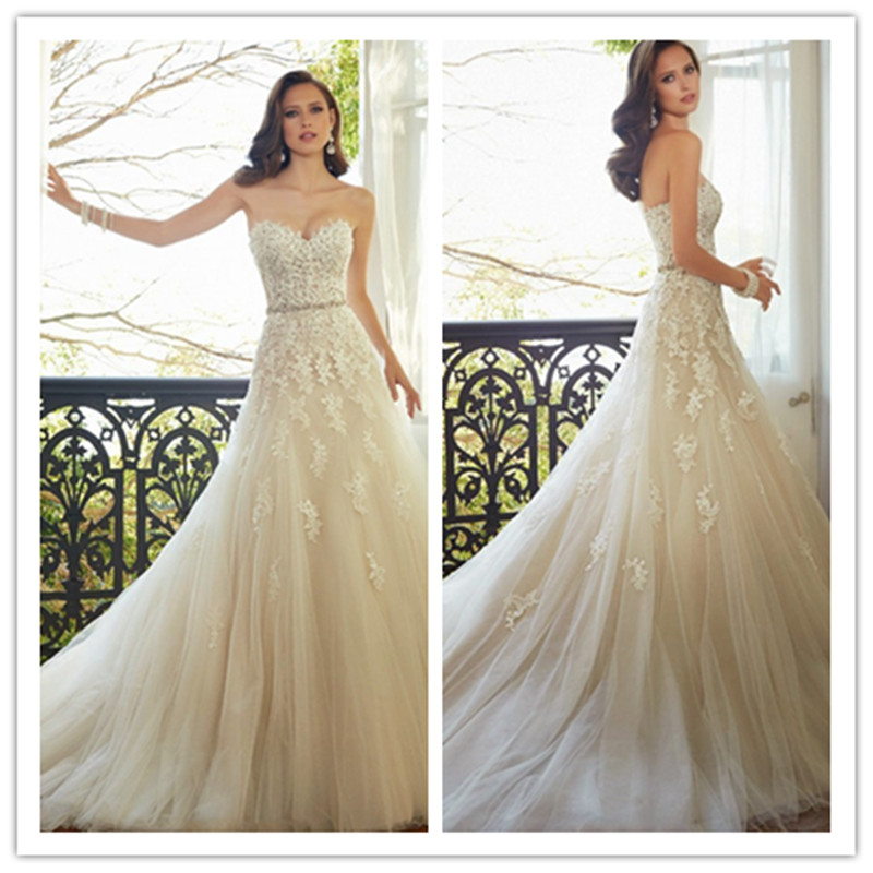 Romantic wedding dress Off the Shoulder A Line Wedding Dresses Rhinestones Sweetheart vestido de noiva Appliques Bridal Gowns