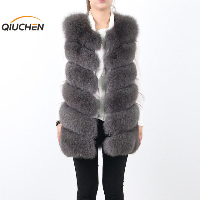 QC8049  QC FUR 2016  New women real  fox fur vest high quality fur gilet hot sale FREE SHIPPING
