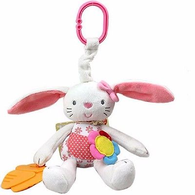 0+ Soft Rabbit Baby Plush Doll Baby Rattle Ring Bell Crib Bed Hanging Animal Toy Teether Multifunction Doll Kids Toy