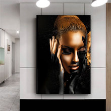 Black Gold Nude African Art Woman Oil Painting on Canvas Cuadros Posters and Prints Scandinavian Wall Picture for Living Room(China)