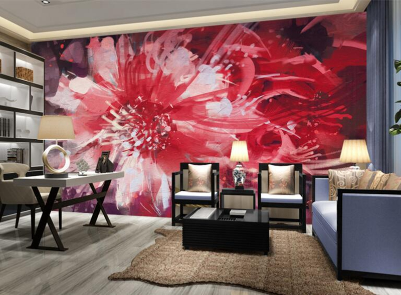 Red Wallpaper for Walls Abstract floral Flower Wall Mural Girls ...