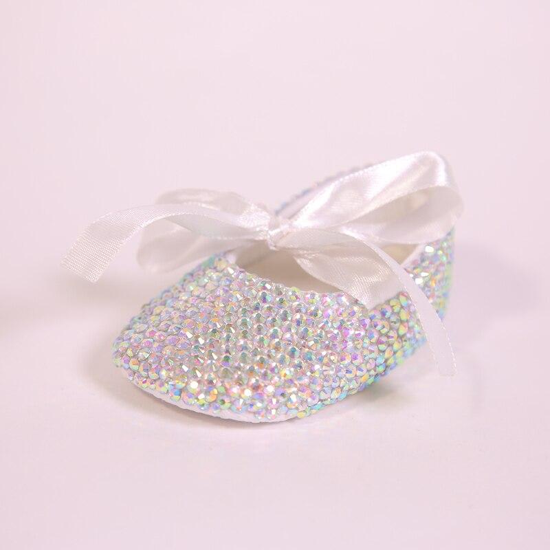 AB Crystal Sparkle Bling Shining White Ribbon Bow Handmade Soft Soled 0-1 Newborn Princess Baby Girl Boutique Shoes гирлянда star trading ab сердечки 1 9m white 726 10