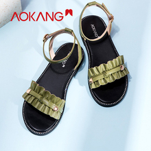 AOKANG 2019 new arrival sandals women summer ankle strap flat shoes women comfortable fashion high quality  sandalia feminina недорого