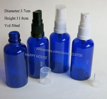 360 x 50ML Refillable Portable Cobalt Blue Glass Oil With Fine Mist Spryer 50cc Empty Blue Glass Parfum Cosmetic Packaging