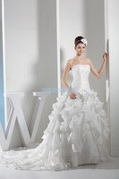 2016 Natural Floor length Taffeta Real Design Calipso Custom Size/color Up Bridal Gown Small Train Marry Plus Size Wedding Dress