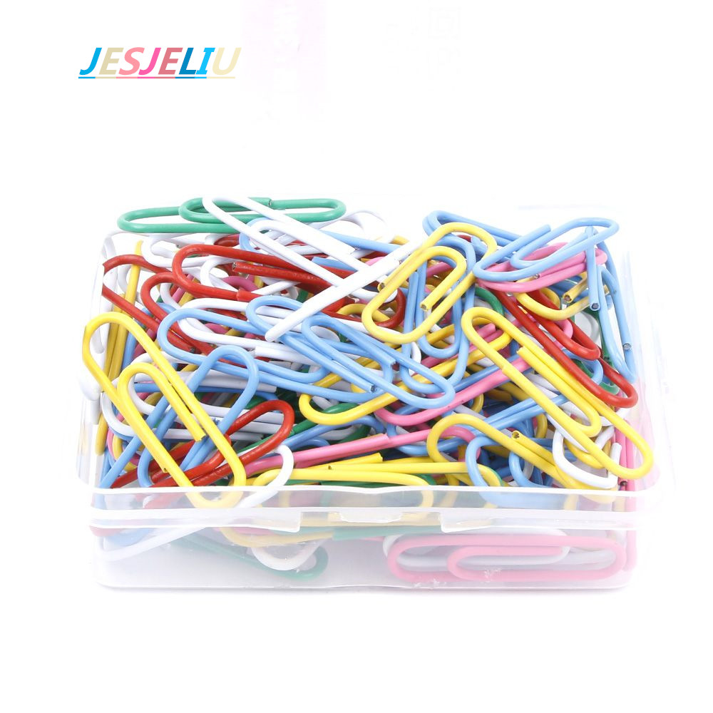 100pcs Paper Clips Staple Files Parentheses Multi-Colors 0.8cm*2.8cm Stained Hot SALE