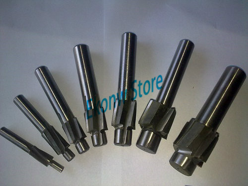 Free Shipping 7pcs 4 Flute AL HSS Counterbore End Mill M3 M12 metric Endmill/sink holes drilling head milling cutter