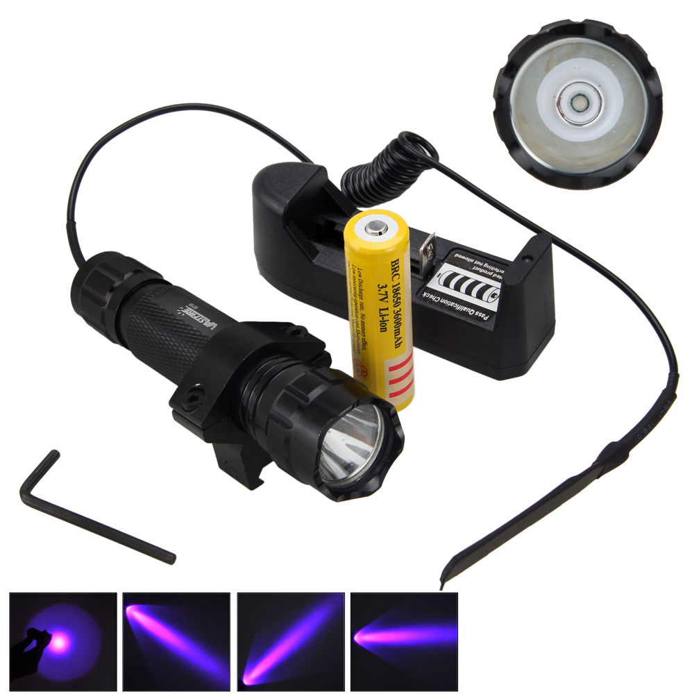 365NM UV WF-501B LED Ultra Violet LED Cycling Torch Bike Light Lamp +18650 +Charger+ Switch 10w 12w ultra violet uv 365nm 380nm 395nm high power led emitting diode on 20mm cooper star pcb