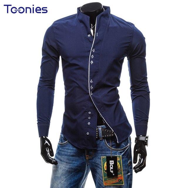 Chemise Hommes 2017 Printemps Nouveau Mode Slim Fit Chemise Homme solide  Occasionnel Robe Chemise pour Hommes