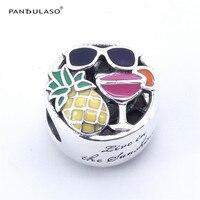 Pandulasoパイナップルサングラスワイン夏楽しいビーズジュエリーメイキングのためにフィットチャームオリジナルブレスレットシルバー925 diyのジュエリー