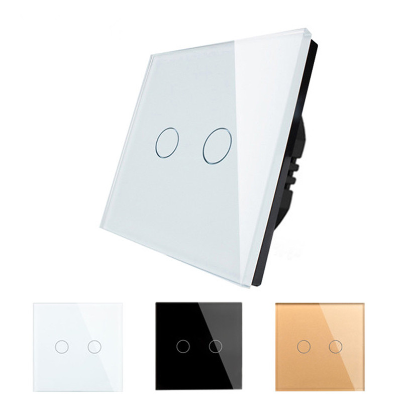 EU Wall Mount Touch Switch AC110-250V With LED Indicator,Crystal Glass Panel Touch Sensor Wall Switch 2gang 1way D602 smart home us au wall touch switch white crystal glass panel 1 gang 1 way power light wall touch switch used for led waterproof