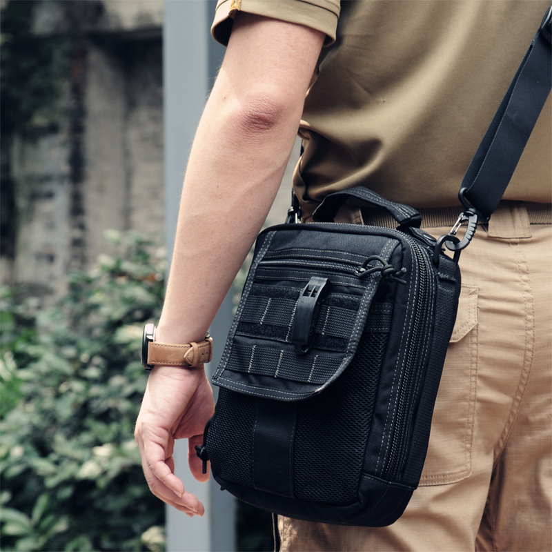 ФОТО ROCOTACTICAL Multi-use Tactical Bag Single Shoulder Military Ipad Bag Cordura Nylon MOLLE Utility Travel Messenger Bag