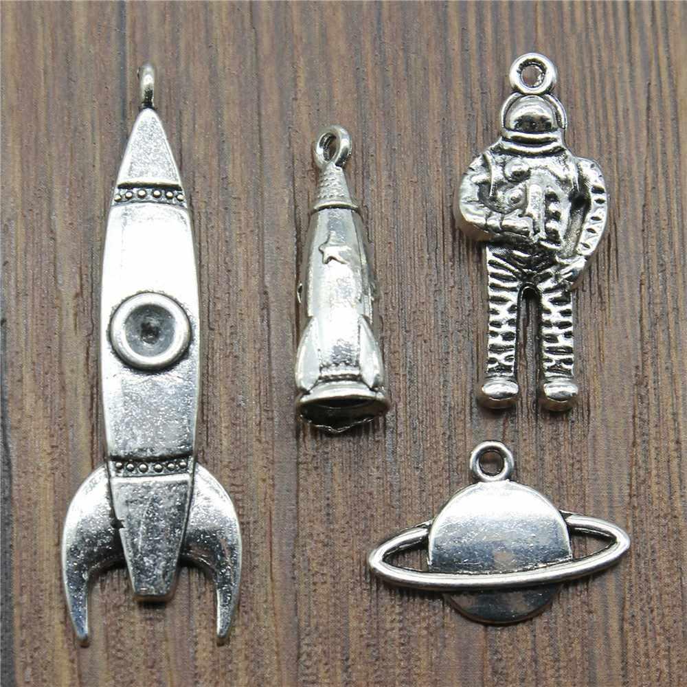 8 pz/lotto Pendenti e Ciondoli Rocket Argento Antico di Colore Astronauta Pendenti e Ciondoli Pendenti con gemme e perle Per I Braccialetti Pianeta Pendenti e Ciondoli Commercio All'ingrosso