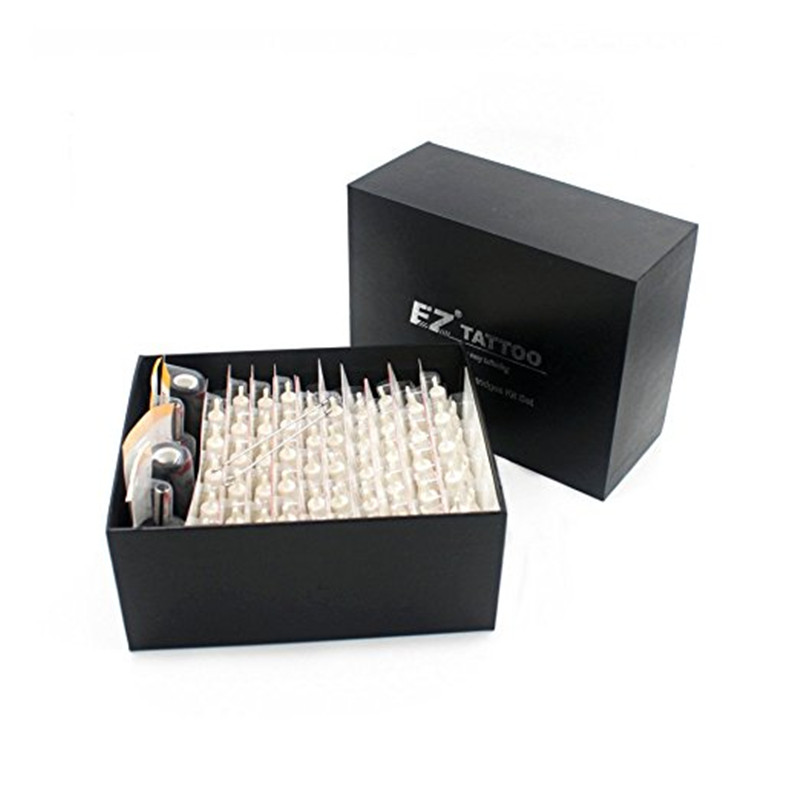 100 Pieces Assorted EZ Cartridge Tattoo Needles With 4 Black Disposable Tubes and 2 Needle Bars Tattoo Needles Cartridge