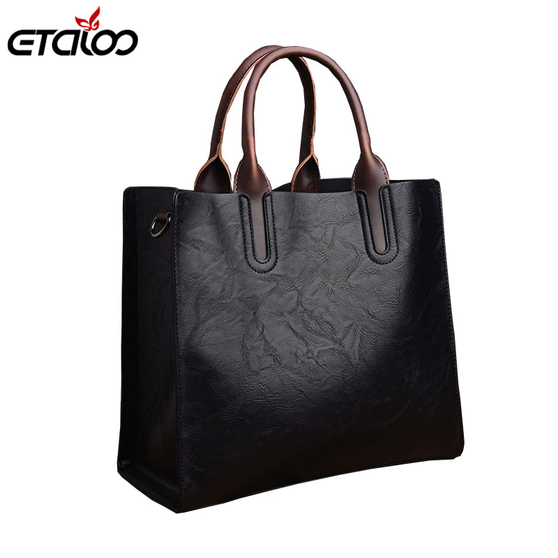 Women Handbag High Quality PU Leather Top-handle Tote Elegant Lady Solid Contract Shoulder Bags Classic Casual Bags 2019