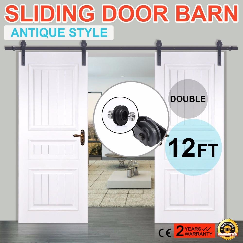 Double sliding barn door hardware rustic black barn sliding track set 12FT цена