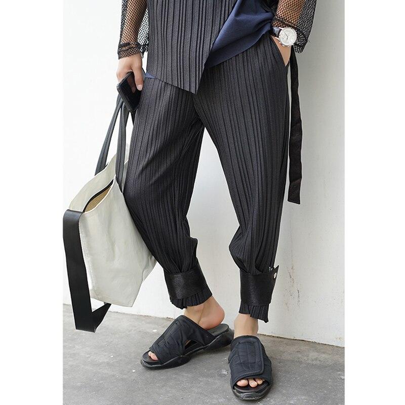 Летние брюки до щиколотки, мужские облегающие брюки, свободные