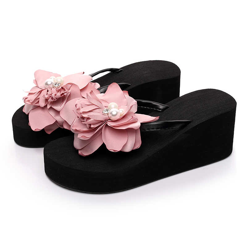 602624ab8c94 ... Laamei Women Flowers Wedges Flip Flops Sweet Flower Room Slippers Woman  Sandals Platform Shoes Beach Flip ...