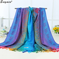 Trendy Lady Women Pashmina Double Sided Elephant National Wind Bohemian Tassel Scarf Fashion Autumn Winter Warm Wrap Shawl Aug24