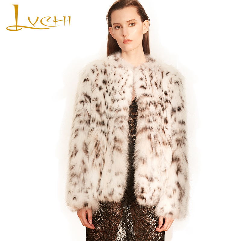 LVCHI Winter 2017 Milan Pure White Bobcats Fur Coats Womens Long Sleeve Wild Bobcats Slim O-Neck Short Ladies Bobcats Coats