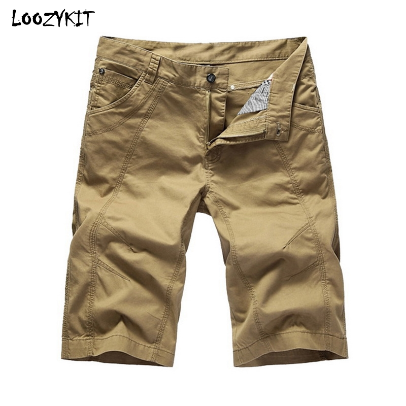 LOOZYKIT Summer Men Casual Cargo   Shorts   Tooling Knee Length Cotton Loose Sports Jogging Multi-Pocket Military Beach   Board     Shorts