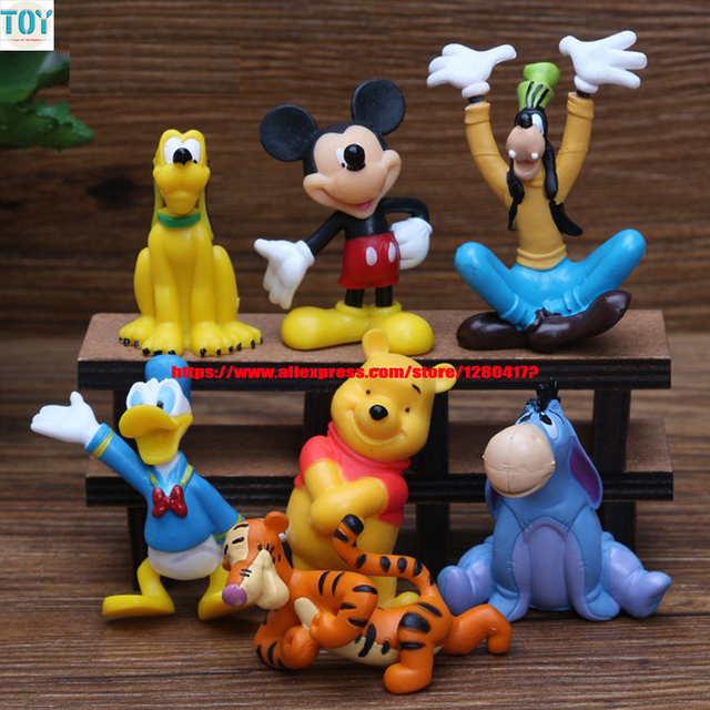 OHMETOY 7PCS Mickey Mouse Clubhouse Baby Dolls Goofy Dog Tigger Donald Duck Anime Toy Action Figure