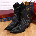 2015 Size 38-46 Handmade Genuine Leather Boots Men Handsome Cowboy Boots Black with Rivets Pionted Toe Motorcycle Boots Men Cool