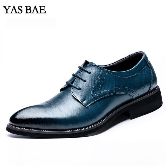 Masculino China Estilo de Moda Vestido De Couro Da Marca italiana  Escritório Sapatos Sociais Formais Azul aa31041acf