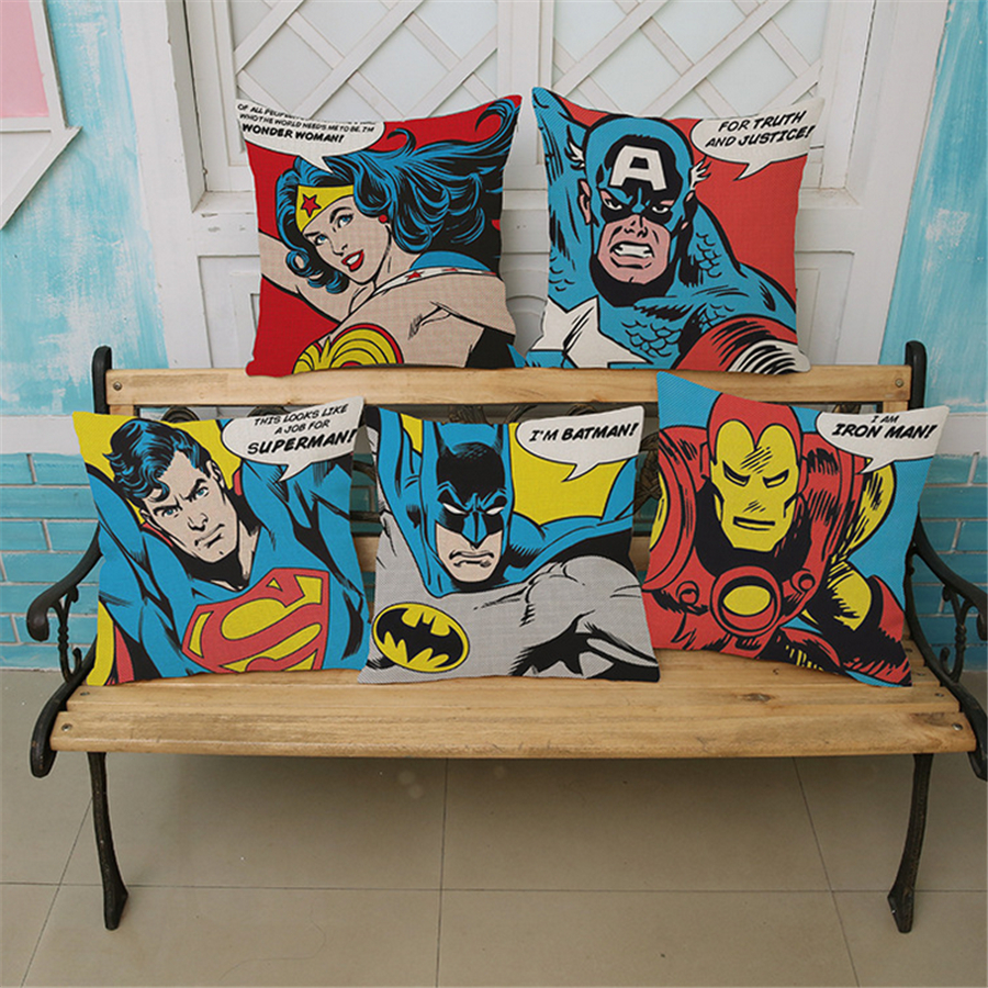 っsuper Homme Hero Pop Art De Bande Dessinee Decoratif Canape