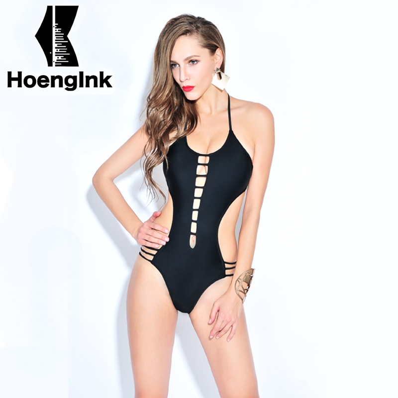 2018 BRANDMAN New black temptation sexy swimsuit hollow no back beach pool swimsuits Size S to 2XL 66083