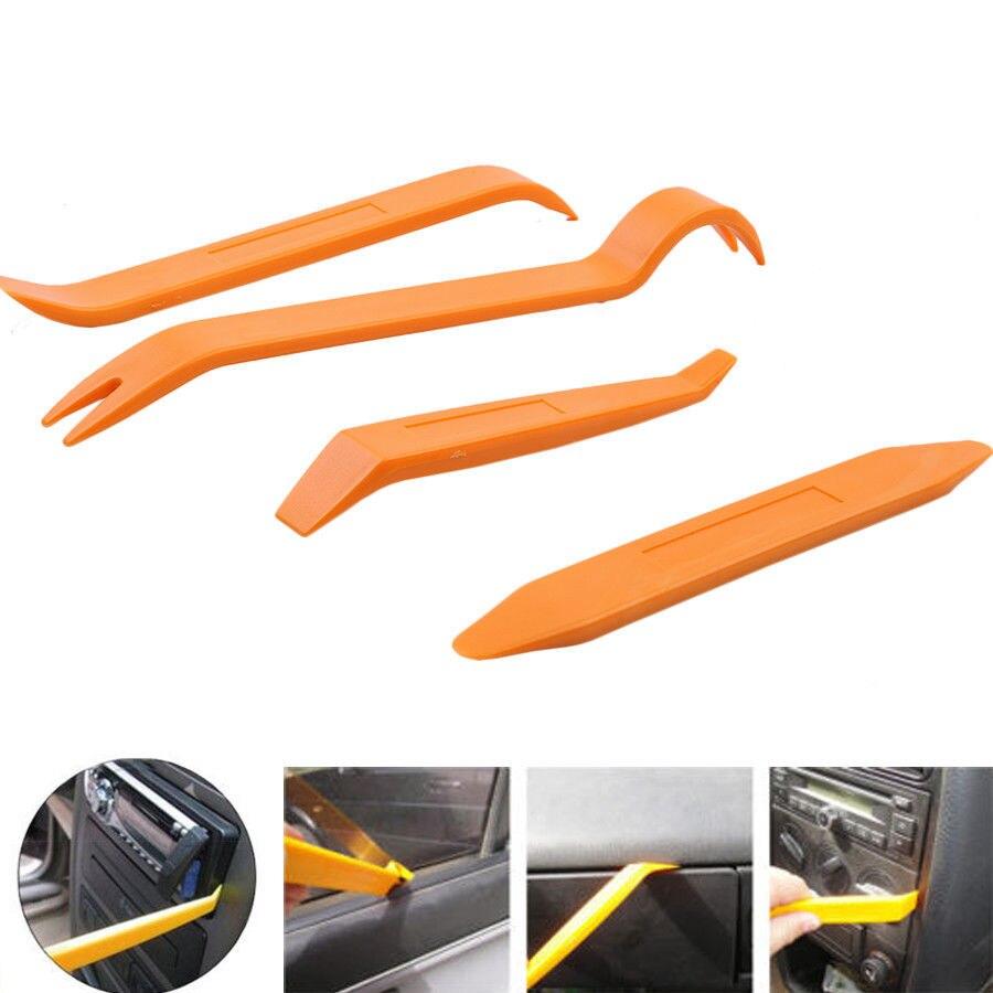 4* Plastic Car Auto Radio Door Clip Panel Trim Dash Audio Removal Pry Kit Tools
